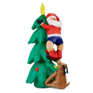 Santa on Tree opblaasbare Kerstman 150 cm ventilator 6 ledlampjes