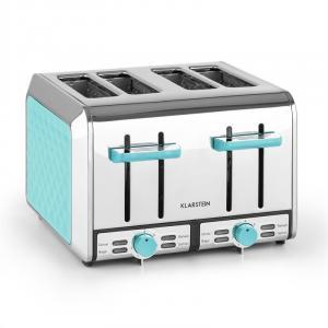 Curacao Azure Toaster 4 Slice Toaster Stainless Steel 1500 Watt blue