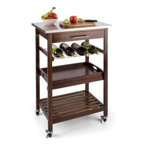 Vermont Kitchen Wagon Serving Trolley Drawer Wine Rack Stainless Steel