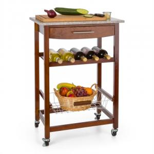 Room Service Serving Trolley Kitchen Wagon Wine Rack Granite Plate Brown