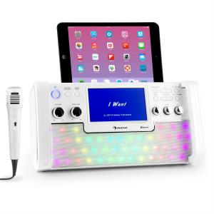 """DiscoFever LED Bluetooth-Karaokeanlage LED 7"""" TFT-Screen CD USB weiss Weiß"""