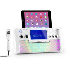 "DiscoFever Bluetooth Karaoke System LED 7"" TFT-Screen CD USB White White"