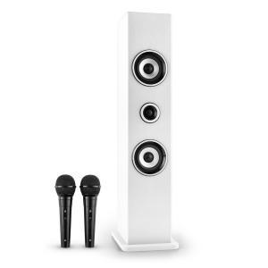Karaboom Coluna Bluetooth USB AUX Karaoke 2 x Microfones Branca Branco