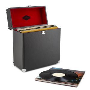 Vinylbox Walizka na płyty winylowe skóra 30 płyt winylowych czarna styl ret Czarny
