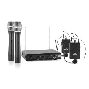 VHF-4-HS 4-Channel VHF Wireless Microphone Set 2 x Headset 2 x Hand Microphone 50 m 2 x Handheld / 2 x Headset-Microphone