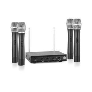 VHF-4-H 4-Channel VHF Wireless Microphone Set 4 x Hand Microphone 50m 4 x Handheld-Microphone