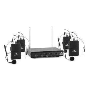 VHF-4-HS 4-Channel VHF Wireless Microphone Set 4 x Headset 50m 4 x Headset-Microphone