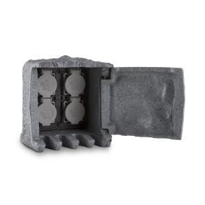 Power Rock buitenstopcontact 4 stopcontacten 1,5 m snoer - steen Grijs | 1,5 m Kabel