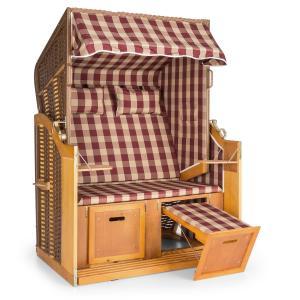 Hiddensee Chaise longue cabine plage XL 2 places carreaux -rouge/blanc Blanc
