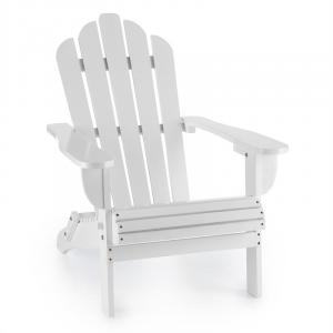 Vermont silla de jardín estilo Adirondack madera de pino 73x88x94 plegable blanca