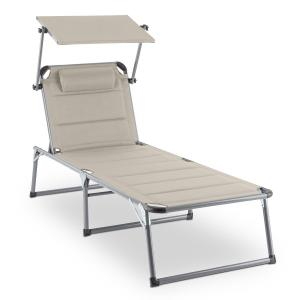 Amalfi noble grey sun lounger 70x37x200cm sunblinds Grey Beige