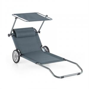 Maritimo Beach Chair Sun Lounger Rollers Sun Shade 110x52cm Grey Grey
