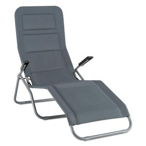 Vitello Noble Transat chaise longue bain de soleil140 x72 x104 - gri