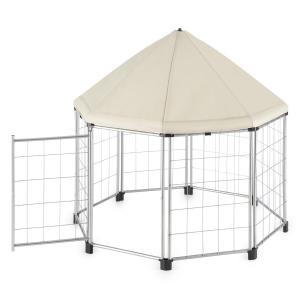 Fort Seasons Pet Pavilion With Canopy Puppy Enclosure 91 x 91 x 91 Beige