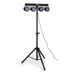 DJLIGHT80LED lighting tripod with 4x 1W RGBW-LED PAR spotlights