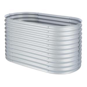 Verhoogde border kweekbak 1,6 m - zink/alu met een zilveren coating Zilver | 1,6 m