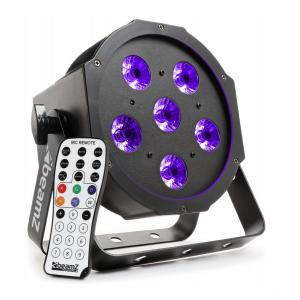 BFP130 FlatPAR LED spotlight 6x 6W UV LEDs DMX IR remote control