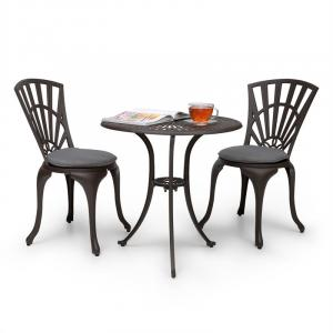 Valletta Set bistrot table 2 chaises & coussins alu moulé - marron Brun