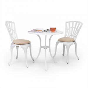 Valletta Set bistrot table 2 chaises & coussins alu moulé - blanc Blanc