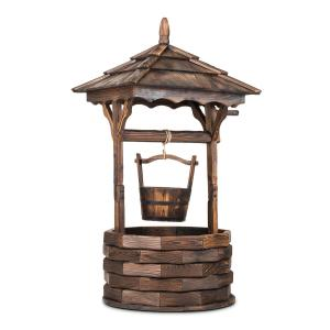 Loreley Garden Fountain garden decoration 135cm fir wood burnt