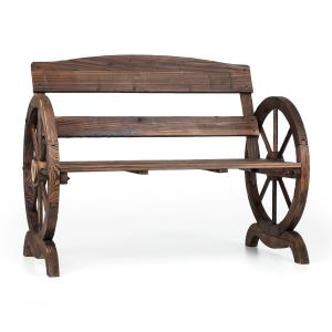 Ammergau Garden Bench Wagon Wheel Wooden Bench 108x65x86cm Pine Wood Flames