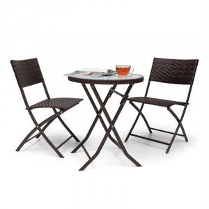Before Sunrise 3-part LED Rattan Bistro Set Table With 2 Stools Brown Brown