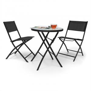 Before Sunrise 3-part LED Rattan Bistro Set Table With 2 Stools Black Black