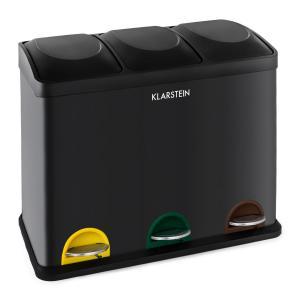 Ökosystem Waste Bin Pedal Bin Waste Separator 45L (3x15 L) Black Black