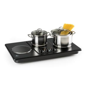 Potzblitz Hob Triple Cooking Hob 3300W Stepless Stainless Steel Black Black
