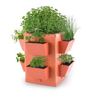 Herbie Hero kruidenpot plantenbak 8 plantenschachten PP terracotta