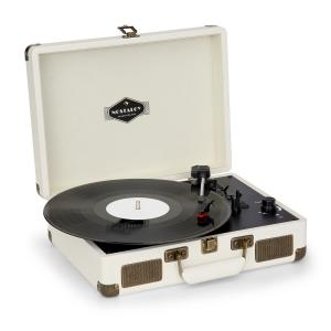 Nostalgy by auna Peggy Sue Retro Record Player LP USB AUX Cream/Brass Look