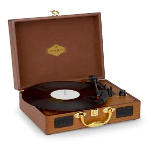 Nostalgy by auna Peggy Sue retro-platenspeler LP USB AUX hout-/goud-optiek