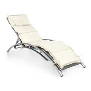 Intermezzo Sun Lounger Aluminium 5cm PU Padding Grey / Cream