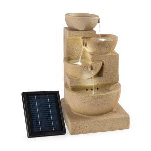 Korinth Prydnadsfontän Trädgårdsbrunn 3W Solar LED Sandstenoptik