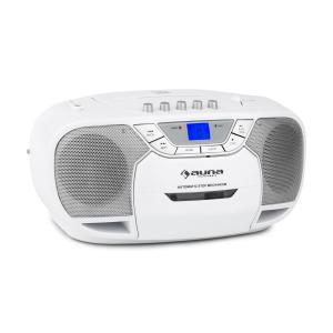 BeeBerry Boom Box Ghettoblaster Radio FM lecteur CD MP3 K7 USB - blanc Blanc