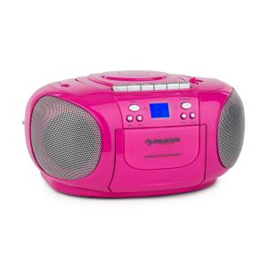 BoomGirl Boom Box Ghettoblaster Radio reproductor CD/MP3 casete rosa Rosa