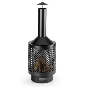 Essos Garden Oven Wood Stove Ø45cm Steel Plate Lattice Wall Black