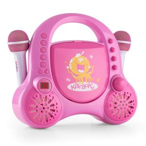 Rockpocket-A PK Children's Karaoke System CD AUX 2 x Microphone Battery Pink Pink