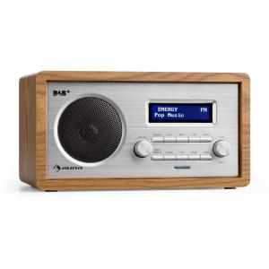 Harmonica DAB+/UKW Radio Dual-Alarm Aux LCD Holzgehäuse Walnuss