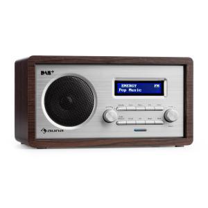Harmonica Radio DAB+/UKF podwójny alarm Aux LCD obudowa drewniana kolor Wenge