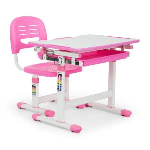 Annika Children's Desk Set 2pcs. Table Chair Height Adjustable Pink