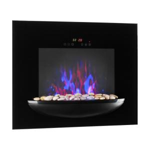 Fire BowlWall-Mounted Fireplace 1800WRealistic Flames Decorative Stones Black