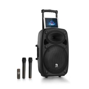 "Streetstar 2.0 12 Mobile PA-Anlage 12"" Subwoofer Trolley Display BT USB/SD/MP3  Line-Out AUX 2xUHF-Funkmikrofon Fernbedienung 800 Wmax. Schwarz 