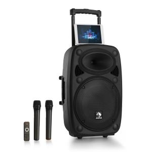 "Streetstar 2.0 15 Mobile PA-Anlage 15"" Subwoofer Trolley Display BT USB/SD/MP3 Line-Out AUX 2xUHF-Funkmikrofone Fernbedienung 1000 Watt max. Schwarz 