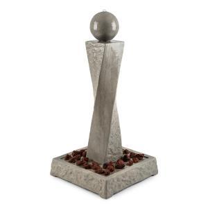 Trafalgar Gartenbrunnen 1,5m LED Fiberglas-Zement 4,5kg Tuff