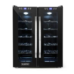 SaloonNapa Weinkühlschrank 67L 2 Glastüren 11-18°C schwarz Schwarz