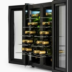 SaloonNapa Wine Cooler 67L 2 Glass Doors 11-18°C Black Black