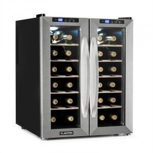 SaloonNapa Wine Cooler 67L 2 Glass Doors 11-18°C Stainless Steel Brushed stainless steel
