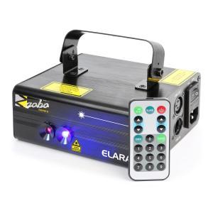 Elara Double-Beam Laser 18 W RB 12-Gobo 6-DMX IR Remote Control