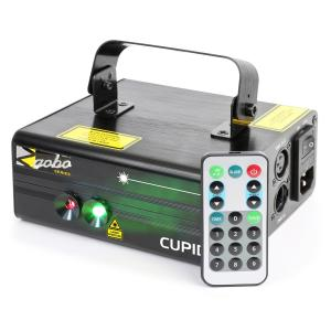 Cupid Double-Beam Laser 18 W RG 12-Gobo 6-DMX IR Remote Control
